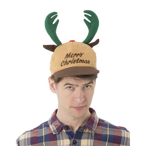 大きめの角が目立つキャップ型帽子!トナカイキャップ