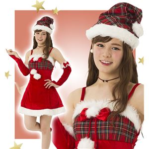 【クリスマスコスプレ 衣装】 ガーリーチェックサンタ - 拡大画像
