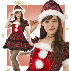 【クリスマスコスプレ 衣装】 チェックワンピースサンタ - 拡大画像