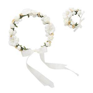 花かんむり&バングルセット クリームの写真1