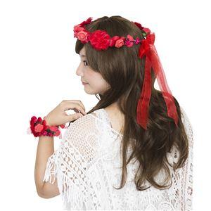 花かんむり&バングルセット レッド