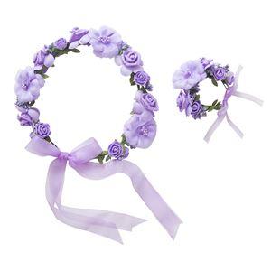 花かんむり&バングルセット パープル