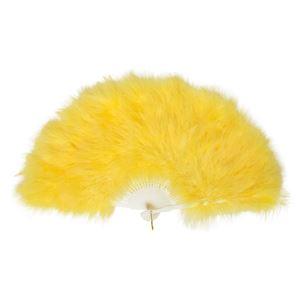ふわふわ羽扇子 黄