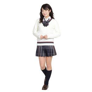 制服/コスプレ衣装 【Vネックセーター ライン ホワイト Mサイズ】 アクリル 『TeensEver』 〔イベント パーティー〕  の画像