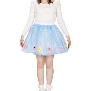 フラワーボリュームスカート ブルー