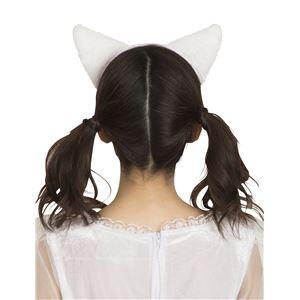 猫耳カチューシャ ふせ耳 白×白