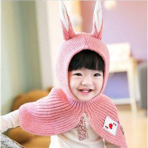 ベビーケープ/ベビーマント 【ピンク】 洗える 対象年齢8か月〜24か月程度 アクリル製 『うさみみケープ Baby』