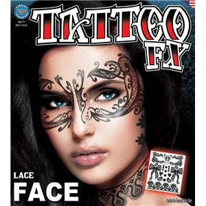 コスプレ衣装/コスチューム Tinsley Transfers Lace Face タトゥーシールの写真1