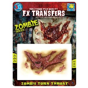 コスプレ衣装/コスチューム Tinsley Transfers Zombie Torn Throat 装飾メイクシールの写真1