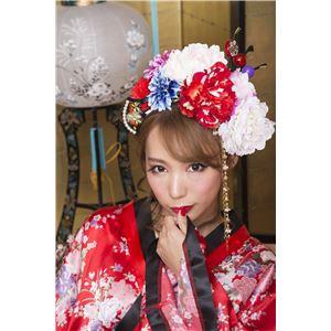 和風 コスプレ衣装/コスチューム 小物 【扇かんざし】 12cm 椿柄 アクリル製 『花鳥風月』