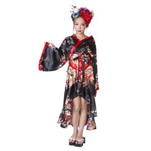 和風コスプレ衣装/コスチューム【着物花柄/黒】Ladies/身長:155〜165cm『花鳥風月』