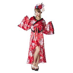 和風コスプレ衣装/コスチューム【着物花柄/赤】Ladies/身長:155〜165cm『花鳥風月』