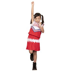 コスプレ衣装/コスチューム【チアガール120cmサイズレッド】子供用ハロウィンおままごとお遊戯会『キッズジョブ』