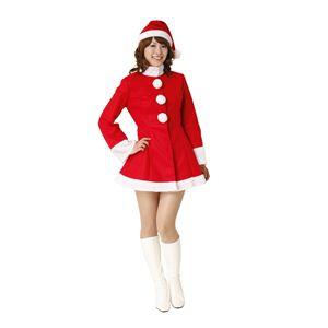 【クリスマスコスプレ】サンタコスチューム 長袖ハイネック 帽子付き - 拡大画像