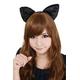 【コスプレ】 フワフワ猫耳カチューシャ 前耳 黒×黒 4560320837282 - 縮小画像2