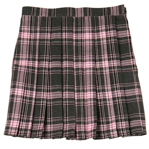 【Teens Ever】TE-11AW プリーツスカート ピンク×チャコールグレー L