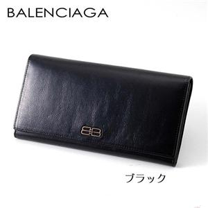 BALENCIAGA レザー長財布 BANA01 ブラック - 拡大画像