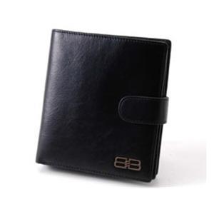 BALENCIAGA レザー2つ折りジップ財布 BANA04 ブラック - 拡大画像