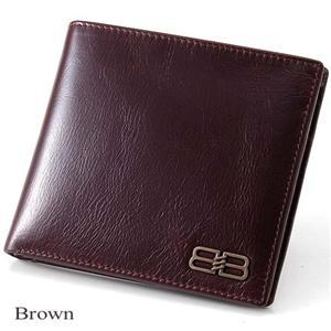 BALENCIAGA レザー2つ折り財布 BANA05 ブラウン - 拡大画像