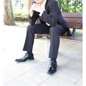 日本製 チゼルトゥ 本革ビジネスシューズ(撥水仕様)26cm【5572/ストレートチップ レースアップ バルモラル・黒】 f06