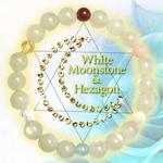 ホワイトムーンストーン六芒星ブレス