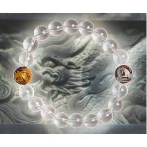 金銀ツインドラゴン水晶ブレスレット - 拡大画像
