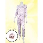 仔犬柄 コンパクトパジャマ(7分袖・ピンク・M)