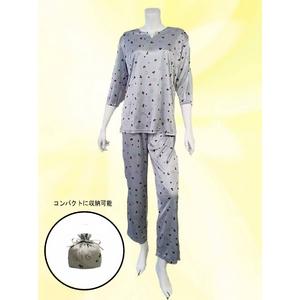 仔犬柄 コンパクトパジャマ(7分袖・グレー・L)