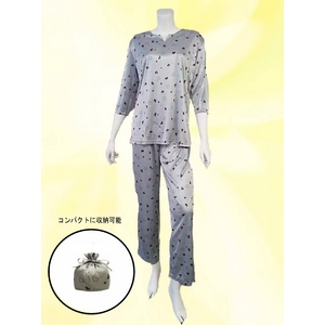 仔犬柄 コンパクトパジャマ(7分袖・グレー・M)