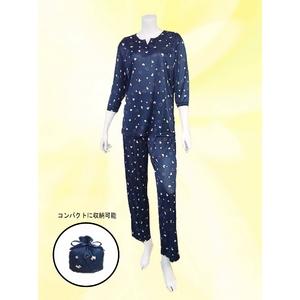 仔犬柄 コンパクトパジャマ(7分袖・ネイビー・L)