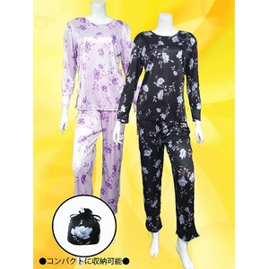 花柄 コンパクトパジャマ(長袖・ブラック・L)
