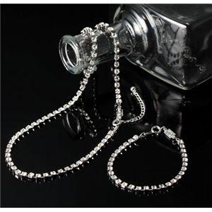スワロフスキークリスタルガラス テニスブレス(ブレスレット)&ネックレスセット 3500-プラチナ - 拡大画像