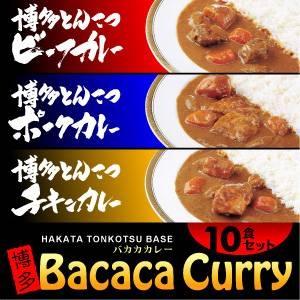 バカカカレー10食セット(ビーフ4、ポーク3、チキン3、計10食) - 拡大画像
