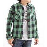 ブロックチェックシャツ 2U8-9000 グリーン L