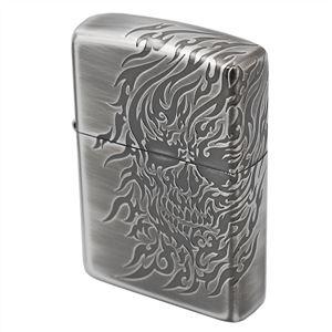 ZIPPO(ジッポ) 3D Type スカル 3面連続エッチング 銀イブシ