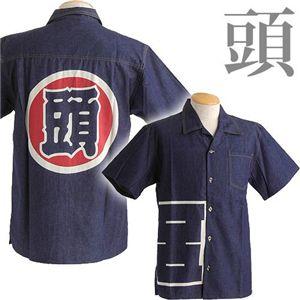 抜染デニムアロハシャツ 頭 L h01