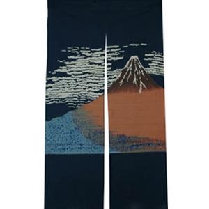 抜染和柄暖簾 赤富士 - 拡大画像