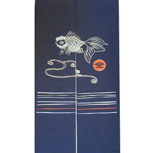 抜染和柄暖簾 金魚 - 拡大画像