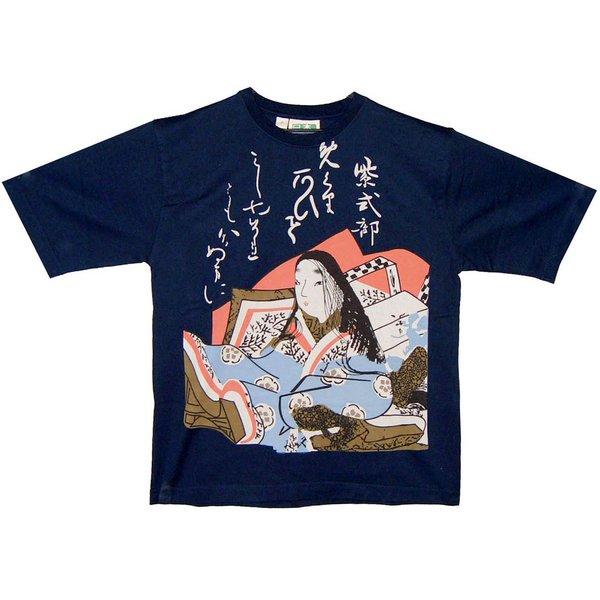 レディス 和柄Tシャツ 紫式部 ネイビーf00
