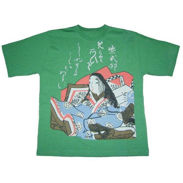 レディス 和柄Tシャツ 紫式部 グリーンf00