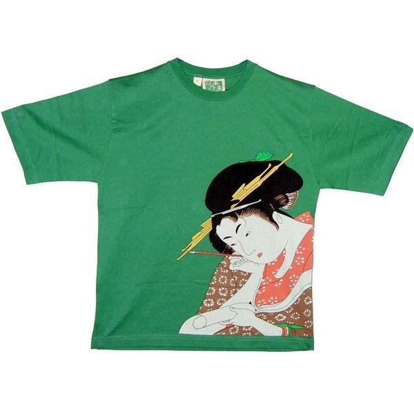 レディス 和柄Tシャツ 美人画 グリーンf00