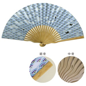 komon+和紙扇子70型25間【3本セット】青海波クジラ