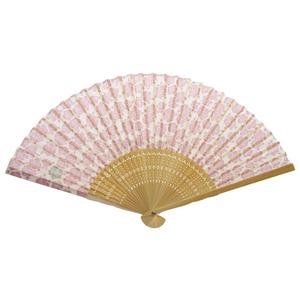 薔薇モチーフ布扇子70型30問【5本セット】ピンク