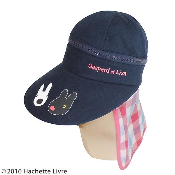【保育士さん】リサとガスパール 3WAYつば広帽子 ピンクチェックf00
