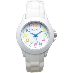 ベルト穴式 レディースラバーウォッチ【腕時計】【ホワイトカラフル】【2本セット】