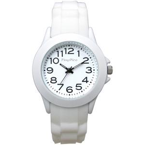 ベルト穴式 レディースラバーウォッチ【腕時計】【ホワイト】【2本セット】