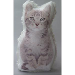 【ネコ雑貨】 キャットファークッション シルバータビー 【2個セット】