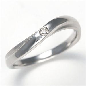 K18WG ダイヤモンド0.02ct ラヴァーズリング ウェーブウィンド 13号 - 拡大画像