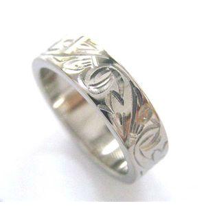 チタン手彫りリング(指輪)唐草模様 21号
