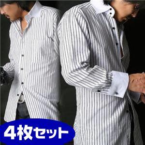 【シーン別コーディネイト】チョイ悪ドレスシャツ4枚セット LL